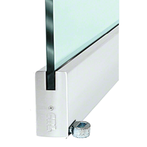 """Satin Anodized 4"""" Offset Custom Length Square Style Door Rail without Lock for 1/2"""" Glass"""