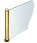 """CRL PP09TPB Polished Brass 18"""" Round PP09 Elegant Series Counter/Partition 3-Way Post"""