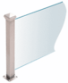 "CRL PP42TBS Brushed Stainless 18"" High 1-1/2"" Square PP42 Plaza Series Counter/Partition 3-Way Post With Air Space"