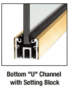 """CRL UCPB3812SL Polished Brass 120"""" U-Channel with Roll-In Top Load Gasket"""