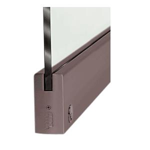 "CRL DR4SDU12SL Black Bronze 1/2"" Glass 4"" Square Door Rail With Lock - 35-3/4"" Length"