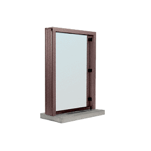 "CRL N11W12DU Dark Bronze Aluminum Narrow Inset Frame Interior Glazed Exchange Window with 12"" Shelf and Deal Tray"