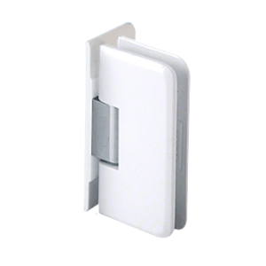 White with Chrome Accent Petite 044 Series Wall Mount Offset Back Plate Hinge