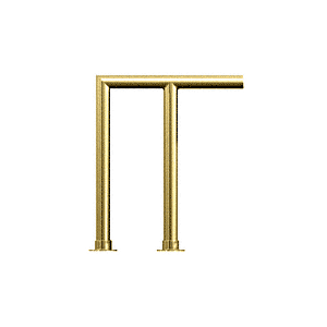 """Polished Brass Contemporary 207 Series 1-1/2"""" Tubing Glass On Top and Front Only Sneeze Guard"""