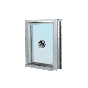 "CRL C0EW12A Satin Anodized Aluminum Clamp-On Frame Exterior Glazed Exchange Window with 12"" Shelf and Deal Tray"