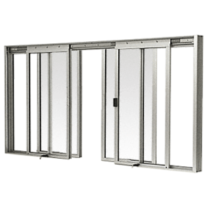 CRL DW3600A Satin Anodized DW Series Four Panel Manual Deluxe Sliding Service Window OXXO with Screen