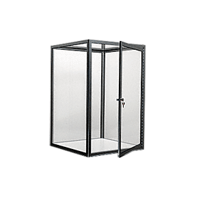 CRL D4042BBL Brite Black Custom Size Avalon Showcase with Hinged Door on Two Ends
