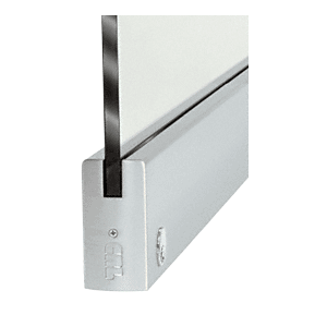 """CRL DR4SBS12SL Brushed Stainless 1/2"""" Glass 4"""" Square Door Rail With Lock - 35-3/4"""" Length"""