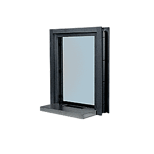 "CRL C01W18DU Dark Bronze Aluminum Clamp-On Frame Interior Glazed Exchange Window With 18"" Shelf and Deal Tray"