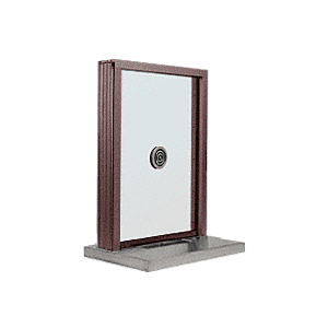 "CRL S1EW18DU Dark Bronze Aluminum Standard Inset Frame Exterior Glazed Exchange Window with 18"" Shelf and Deal Tray"