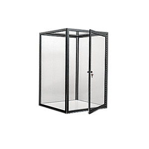 CRL D4040BBL Brite Black Custom Size Avalon Showcase with Single Front Hinged Door