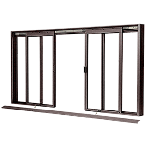 CRL DW3400DU Duranodic Bronze DW Series Four Panel Manual Deluxe Sliding Service Window OXXO without Screen