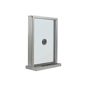 "CRL N1EW12A Satin Anodized Aluminum Narrow Inset Frame Exterior Glazed Exchange Window with 12"" Shelf and Deal Tray"