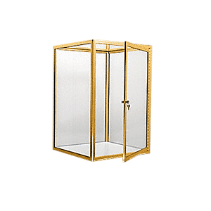 CRL D4043BGA Brite Gold Anodized Custom Size Avalon Showcase with Double Hinged Front Doors