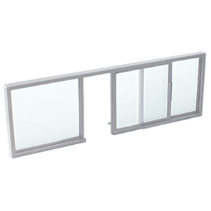 "CRL SW2614A Satin Anodized Horizontal Sliding Service Window OXO Format with 1/4"" Glass No Screen"