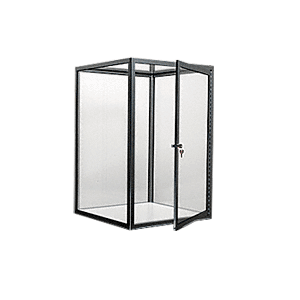 CRL D4043BBL Brite Black Custom Size Avalon Showcase with Double Hinged Front Doors