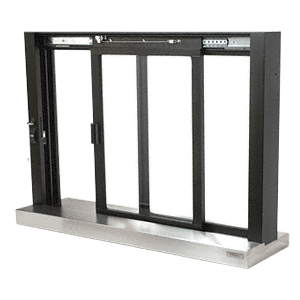 CRL SCDW1804DU Duranodic Bronze Self-Closing Deluxe Sliding Service Window with Stainless Steel Sill