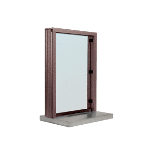 "CRL N11W18DU Dark Bronze Aluminum Narrow Inset Frame Interior Glazed Exchange Window with 18"" Shelf and Deal Tray"