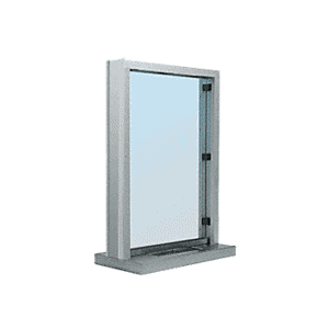 "CRL S11W12S Brushed Stainless Steel Frame Interior Glazed Exchange Window with 12"" Shelf and Deal Tray"