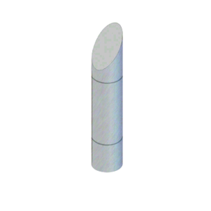 """CRL BLR37RV1SBS Brushed Stainless Steel Bollard 9"""" Round with Angled Top and Single Line Accents"""
