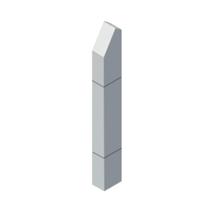 """CRL BLR6431V1S Stainless Steel Bollard 6"""" x 4"""" Rectangular with Angled Top and Single Line Accents"""