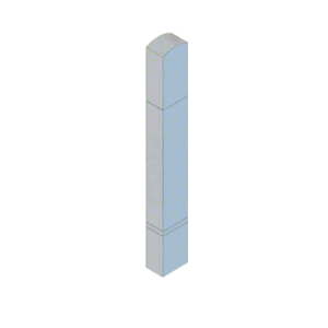 """CRL BLR64RV3SND Stainless Steel Bollard 6"""" x 4"""" Rectangular with Domed Top and Double Line Accents - Non-Directional"""
