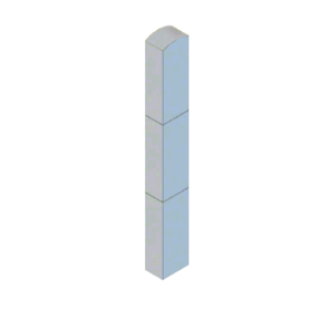 """CRL BLR64RV1SND Stainless Steel Bollard 6"""" x 4"""" Rectangular with Domed Top and Single Line Accents - Non-Directional"""