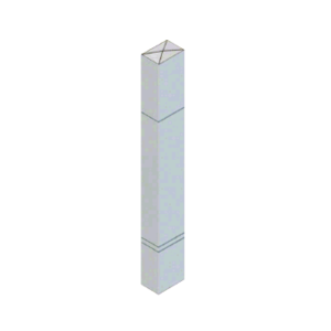 """CRL BLR64PV3S Stainless Steel Bollard 6"""" x 4"""" Rectangular with Raised Top and Double Line Accents"""