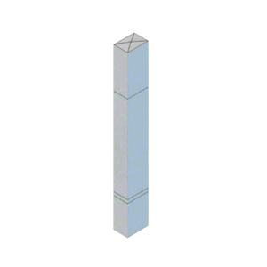 """CRL BLR64PV3SND Stainless Steel Bollard 6"""" x 4"""" Rectangular with Raised Top and Double Line Accents - Non-Directional"""