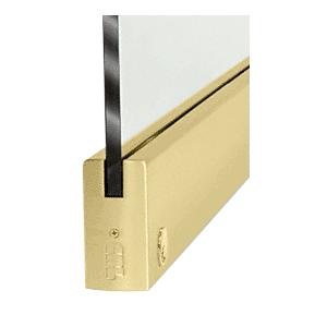 "CRL DR4SSB12CL Satin Brass 1/2"" Glass 4"" Square Door Rail With Lock - Custom Length"