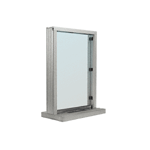 "CRL N11W12A Satin Anodized Aluminum Narrow Inset Frame Interior Glazed Exchange Window With 12"" Shelf and Deal Tray"