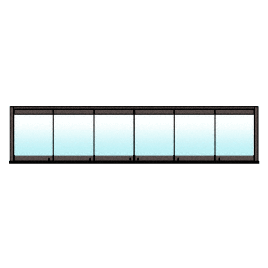 CRL 0TB6BPDU Black Bronze Anodized 6-Panel Bipart Overhead Track Full Bi-Fold Door Configuration
