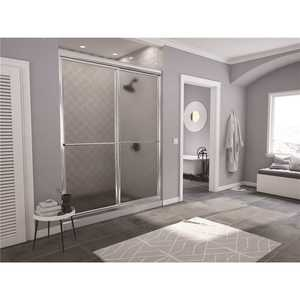 Coastal Shower Doors 1642.70B-A Newport 42 in. to 43.625 in. x 70 in. Framed Sliding Shower Door with Towel Bar in Chrome with Aquatex Glass