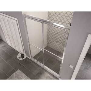 Coastal Shower Doors 1652.70B-C Newport 52 in. to 53.625 in. x 70 in. Framed Sliding Shower Door with Towel Bar in Chrome and Clear Glass
