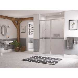 Coastal Shower Doors L24IL16.69B-A Legend 39.5 in. to 41 in. x 69 in. Framed Hinged Shower Door with Inline Panel in Chrome with Obscure Glass