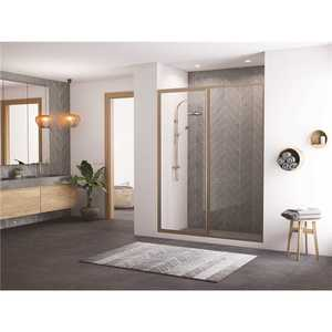 Coastal Shower Doors L24IL15.69N-C Legend 38.5 in. to 40 in. x 69 in. Framed Hinge Swing Shower Door with Inline Panel in Brushed Nickel with Clear Glass