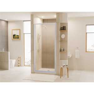 Coastal Shower Doors L24.66P-A Legend 23.625 in. to 24.625 in. x 64 in. Framed Hinged Shower Door in Platinum with Obscure Glass