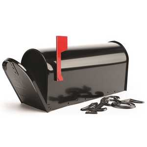 Gibraltar Mailboxes E1100B00 Elite Medium Black Galvanized Steel Post-Mount Mailbox