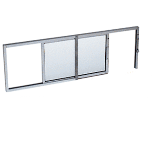 "CRL SW1600A Satin Anodized Horizontal Sliding Service Window X- or -X Format with 1/8"" & 1/4"" Vinyl Only No Screen"