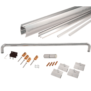 """CRL CK146060BA Brite Anodized 60"""" x 60"""" Cottage CK Series Sliding Shower Door Kit with Clear Jambs for 1/4"""" Glass"""