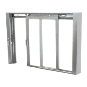 CRL SCDW1801A Satin Anodized Self-Closing Deluxe Sliding Service Windows with Aluminum Half Bottom Track
