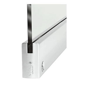 """CRL DR4SPS12SL Polished Stainless 1/2"""" Glass 4"""" Square Door Rail With Lock - 35-3/4"""" Length"""