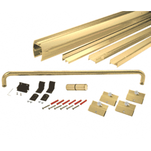 "CRL DK146060BGA Brite Gold Anodized 60"" x 60"" Cottage DK Series Sliding Shower Door Kit With Metal Jambs for 1/4"" Glass"