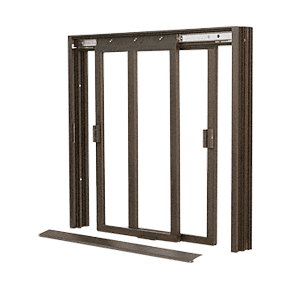 CRL DW4200DU Duranodic Bronze DW Series Two Panel Manual Deluxe Sliding Service Window XX Without Screen