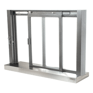 CRL SCDW1804A Satin Anodized Self-Closing Deluxe Sliding Service Window with Stainless Steel Sill
