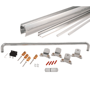 "Brite Anodized 72"" x 80"" Cottage CK Series Sliding Shower Door Kit with Clear Jambs for 3/8"" Glass"