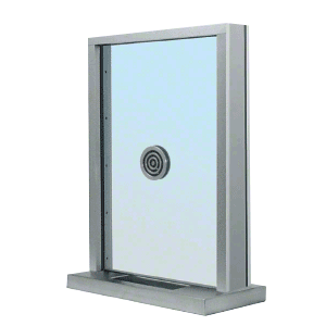 "CRL S1EW18S Brushed Stainless Steel Frame Exterior Glazed Exchange Window with 18"" Shelf and Deal Tray"