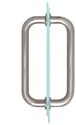 "CRL BM8X8BS Brushed Stainless 8"" BM Series Tubular Back-to-Back Pull Handle"