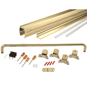 "Brite Gold Anodized 72"" x 72"" Cottage CK Series Sliding Shower Door Kit With Clear Jambs for 3/8"" Glass"