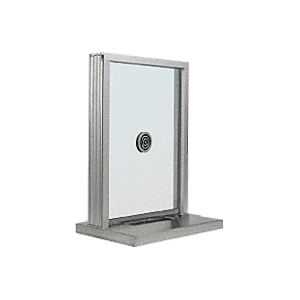"CRL S1EW18A Satin Anodized Aluminum Standard Inset Frame Exterior Glazed Exchange Window with 18"" Shelf and Deal Tray"